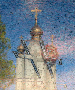 Russian cemetery. Reflections in a grave.  Russian Orthodox Convent Novo-Diveevo Nanuet, New York