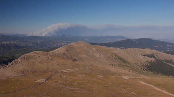 Mount Evans Scenic Byway<br /> The cloud is actually the smoke of the Labor Day fire near Boulder
