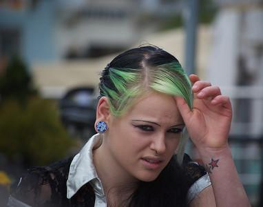 Green hair beauty